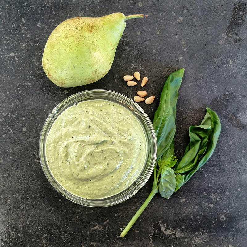 Pesto de pera: alternativa vegana