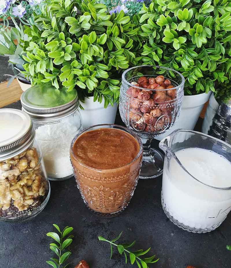 Receta de smoothie de nutella vegana